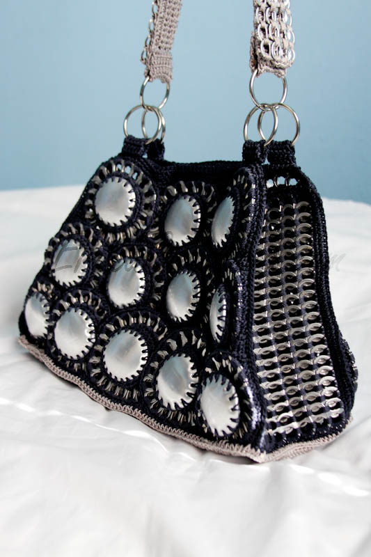 Soda can bottom and pop tabs purse