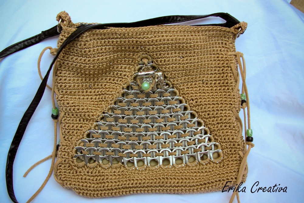 Body cross crochet pop tab purse