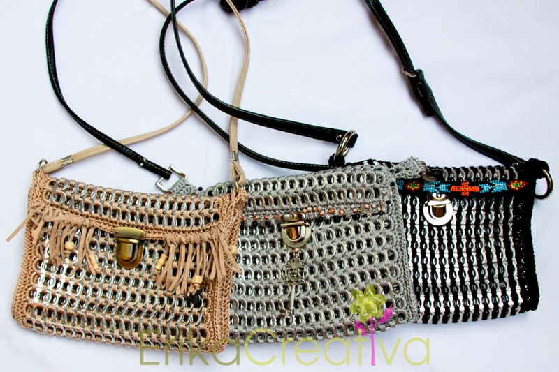 Upcycled soda pop tabs purses