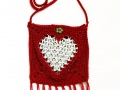 Heart shaped fringed pop tab purse