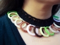 Plastic rings crochet necklace