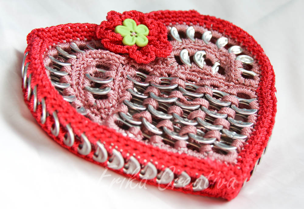 Heart shaped pop tabs coin purse